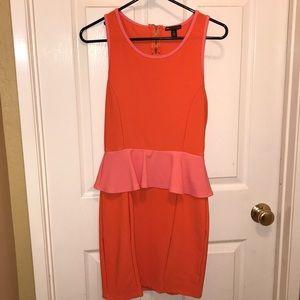 Teen Vogue Orange & Pink Peplum Pencil Dress